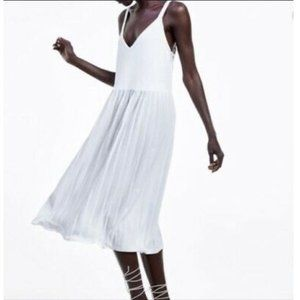 NWT Zara White Pleated Midi Tank Dress